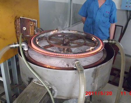 Gear hardening heat treatment site